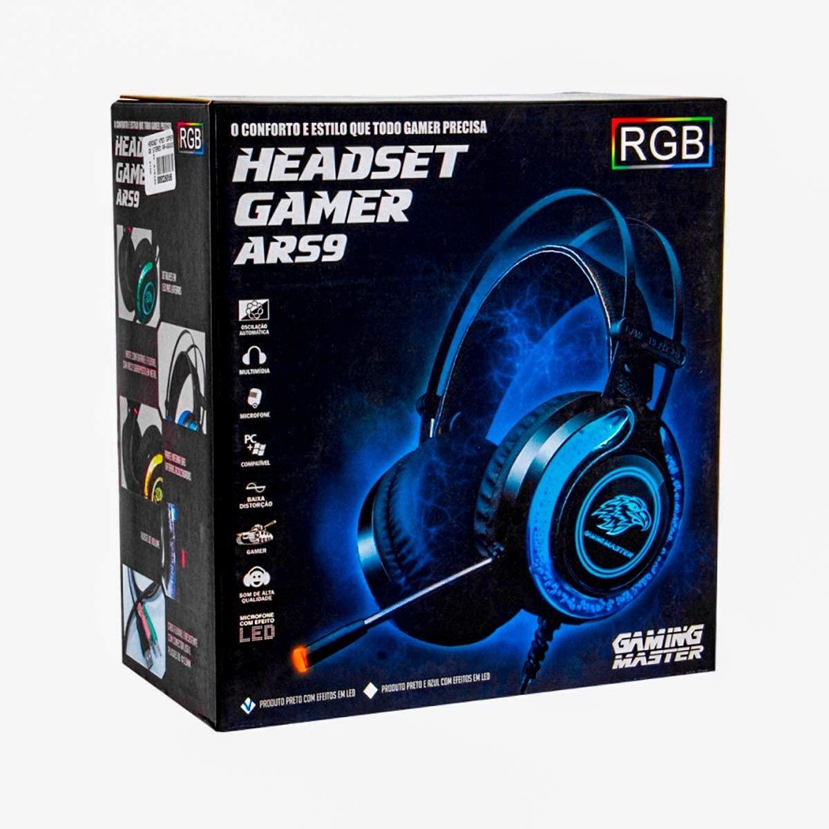 Fone de Ouvido Headset K-MEX AR-S9300 Preto com Microfone LED