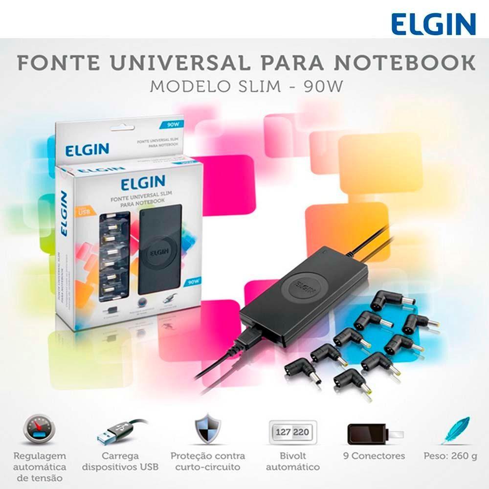 Fonte Universal Para Notebook 90w Com Usb 46rfte90w Elgin