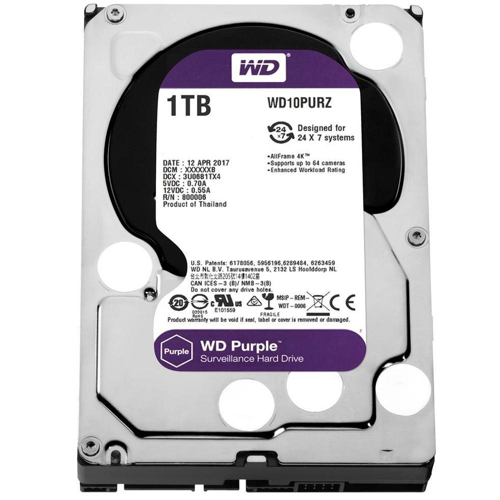 HD WD Purple Surveillance, 1TB, 3.5´, SATA - WD10PURZ