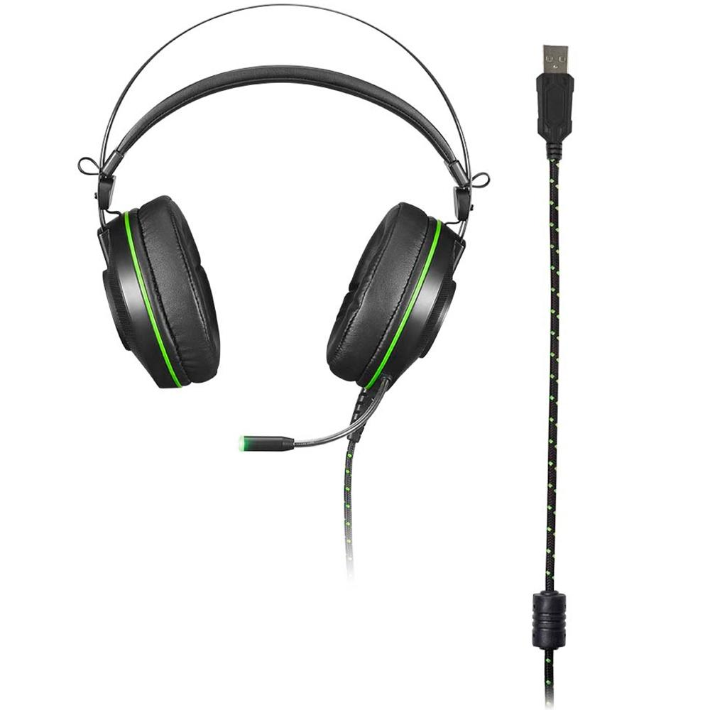 Headset Gamer Warrior Raiko 7.1, USB, c/LED Verde - PH259