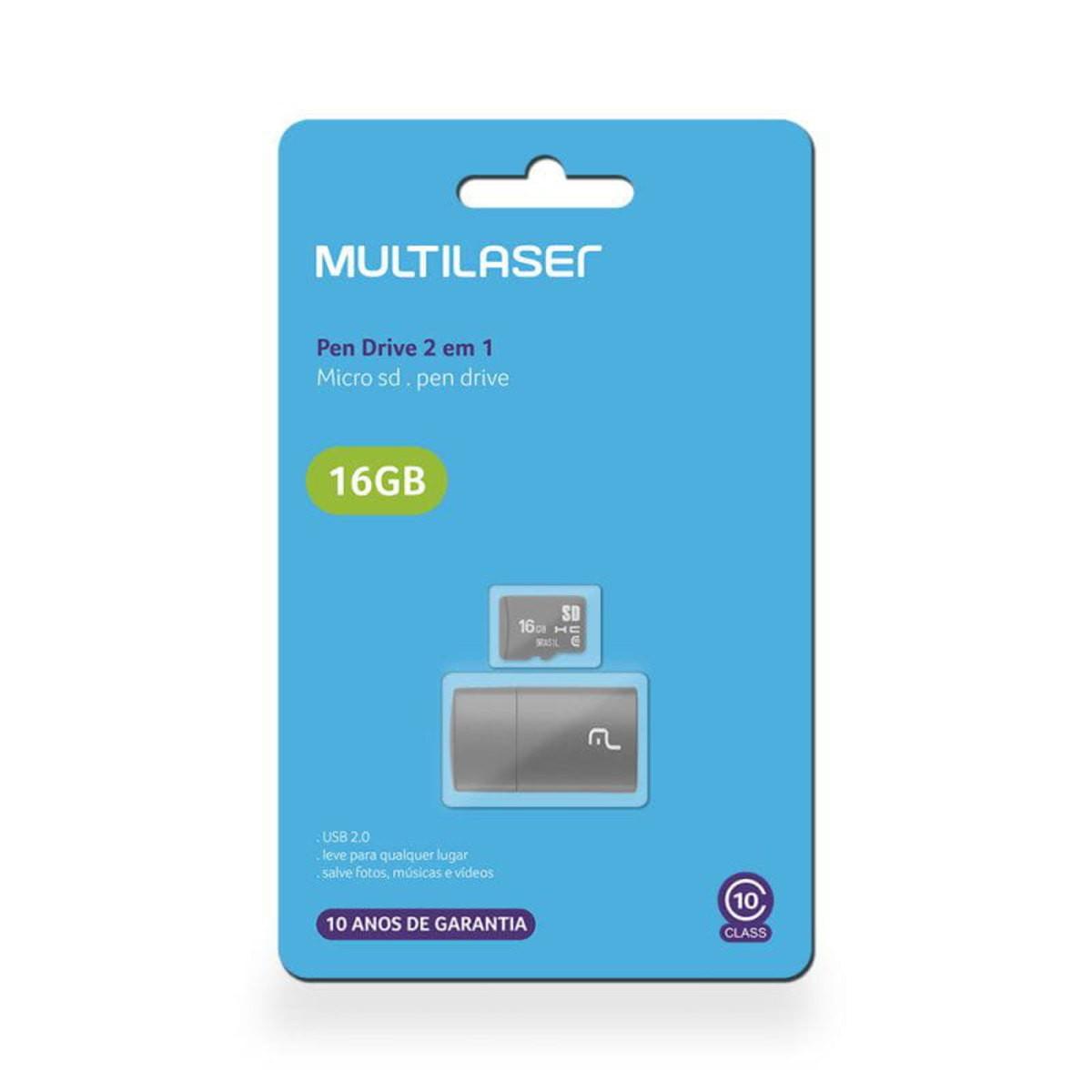 Kit 2x1 Leitor USB + Cartão de Memoria 16Gb MC162