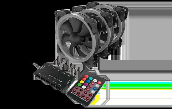 Kit C/ 3 Fans Rgb 120x25mm Gc-F008 Redragon