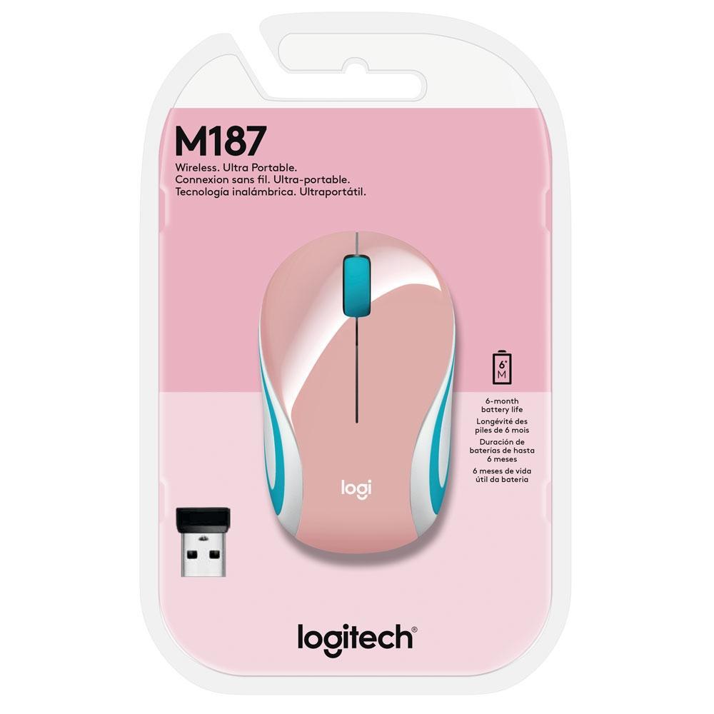 Mini Mouse Logitech M187 Sem Fio Rosa 1000DPI