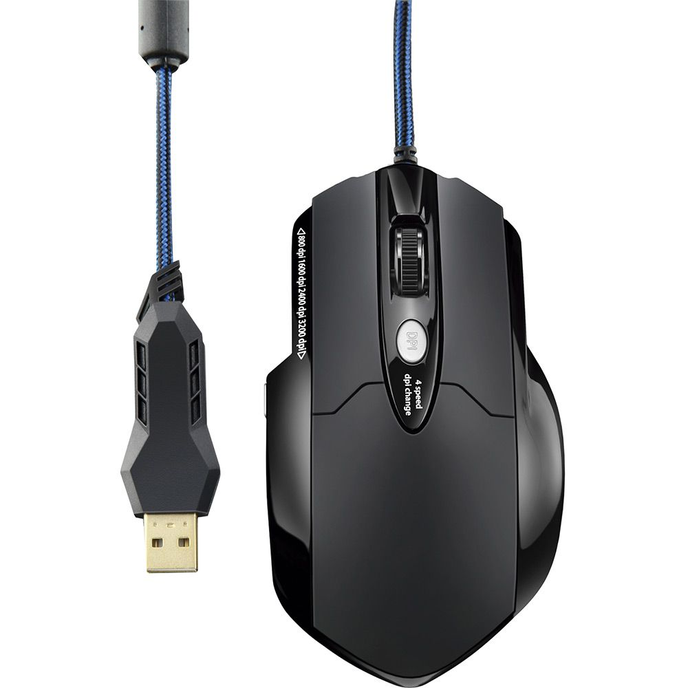 Mouse Gamer Multilaser Warrior Laser 3200 DPI com 8 Botões