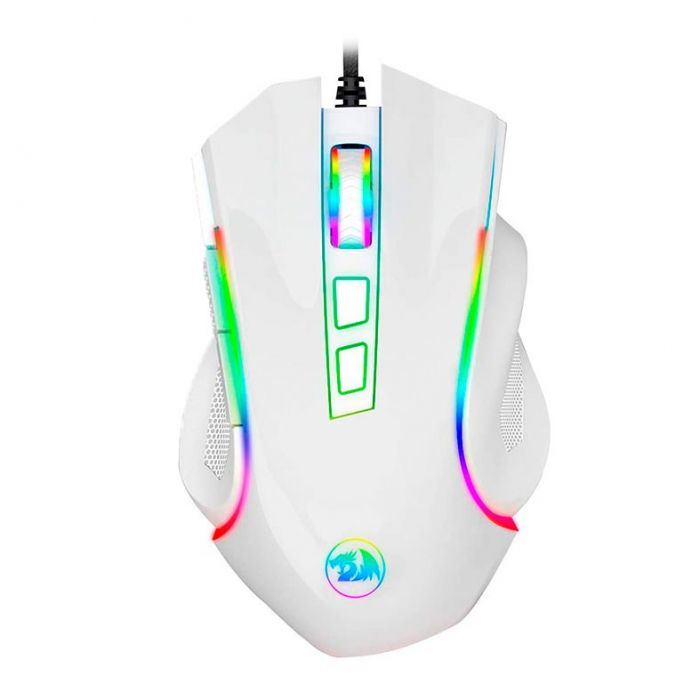 Mouse Gamer Redragon 7200DPI RGB Griffin Branco M607W