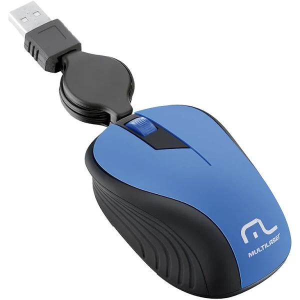 Mouse Retrátil Multilaser, Emborrachado, Azul, USB - MO235