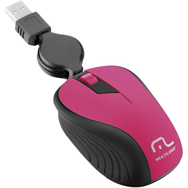Mouse Retrátil Multilaser, Emborrachado, Rosa, USB - MO233