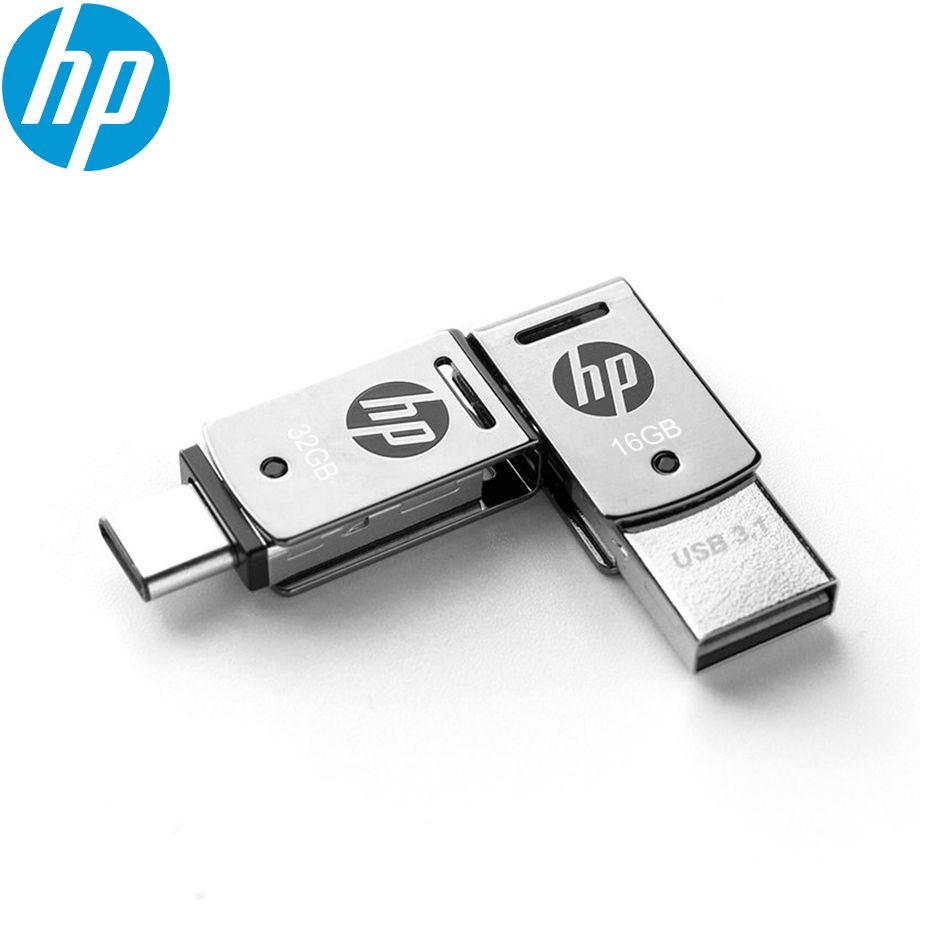 Pen Drive 32gb Usb Tipo C + Usb 3.1 X5000m Metal Hp