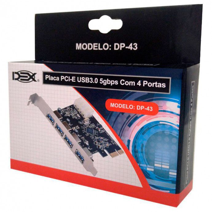 Placa PCI Express USB 3.0 5gbps 4 Portas DP-43