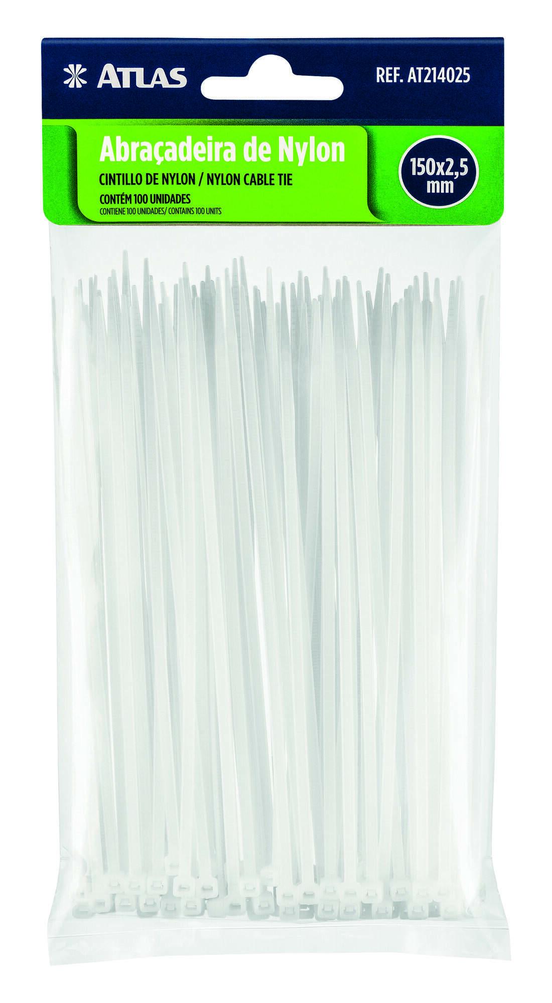 Abraçadeira de Plástico 20 Cm X 2,5 Mm Branca C/ 100 Uni Atlas AT220025.