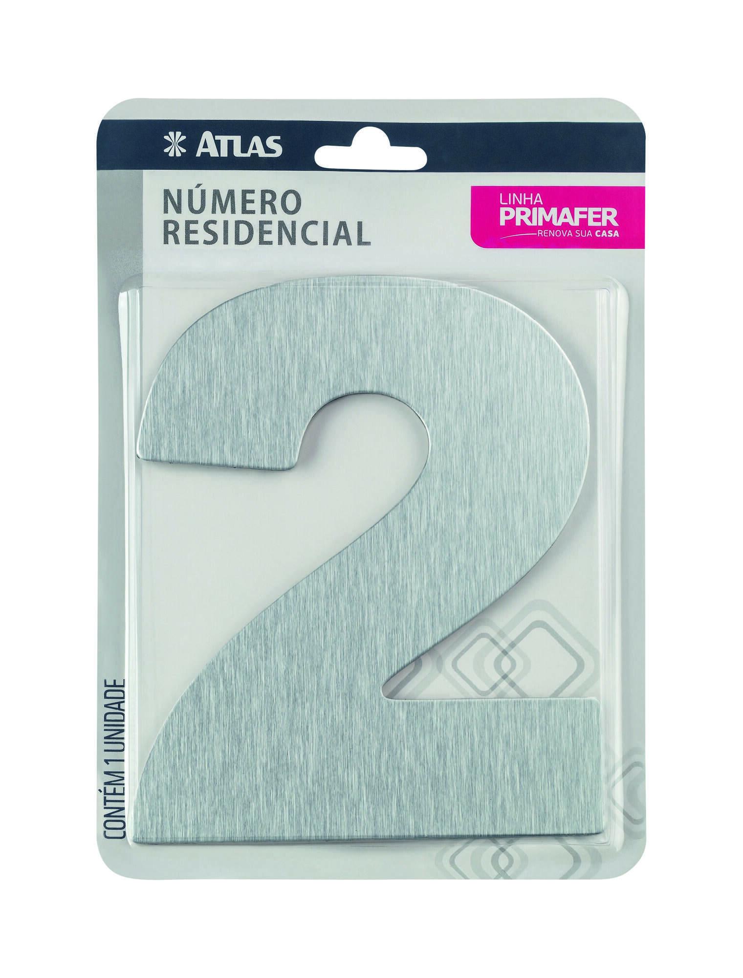 Número Residencial Adesivo Alumínio N° 2 Atlas PR3001/2.