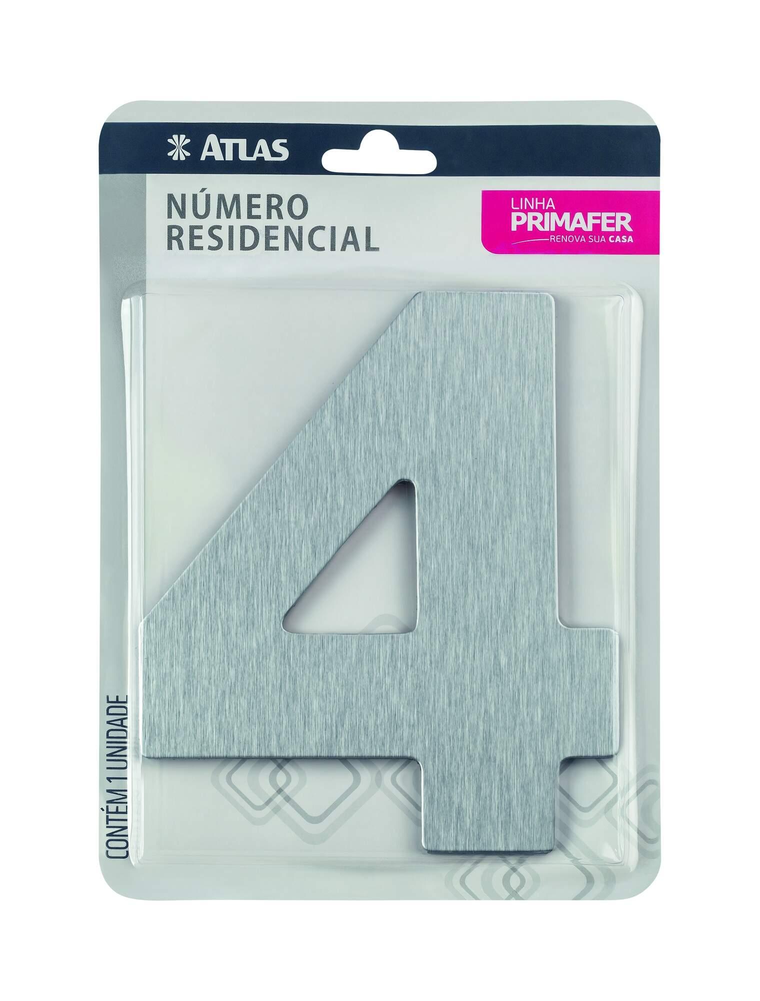 Número Residencial Adesivo Alumínio N° 4 Atlas PR3001/4.