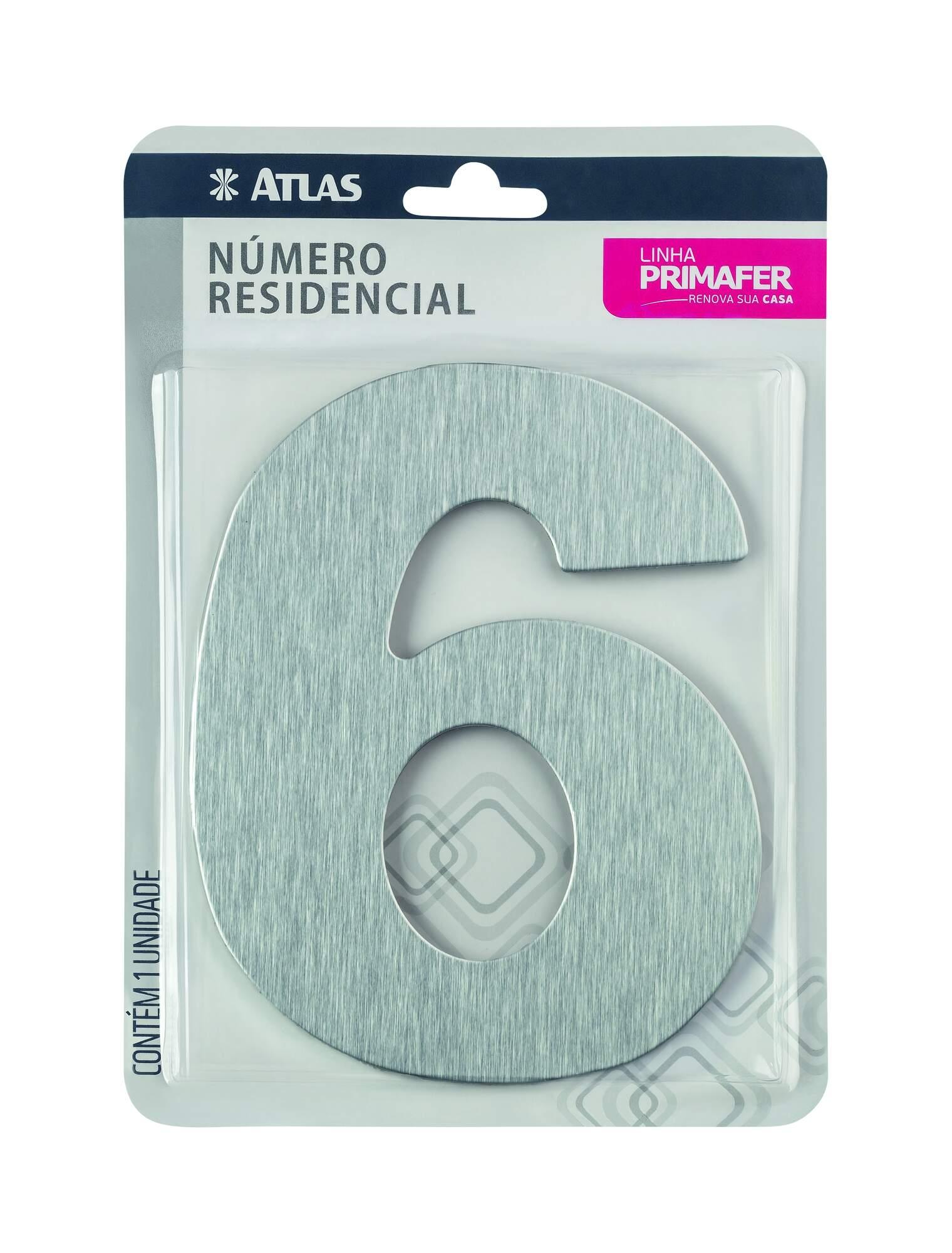 Número Residencial Adesivo Alumínio N° 6 Atlas PR3001/6.