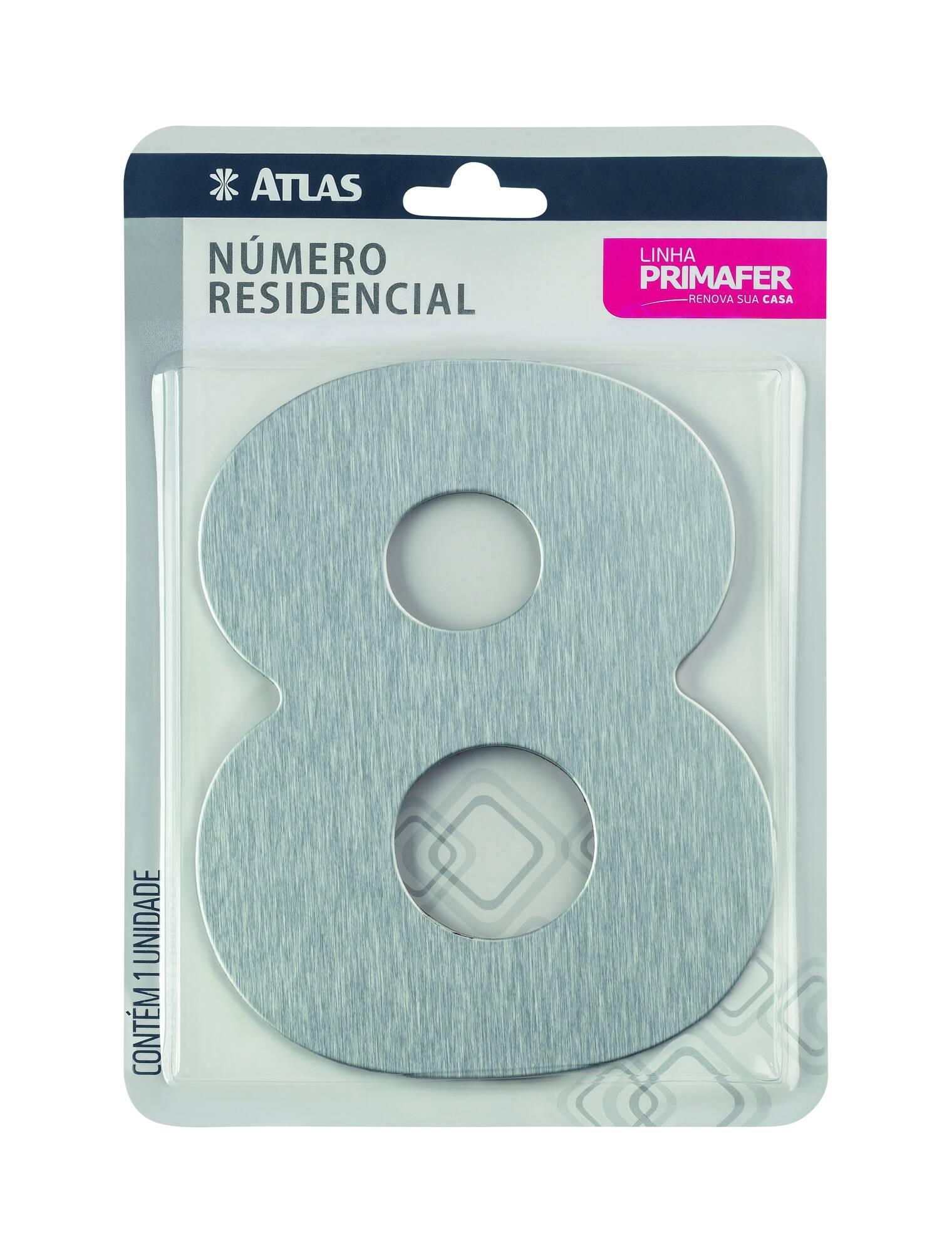 Número Residencial Adesivo Alumínio N° 8 Atlas PR3001/8.