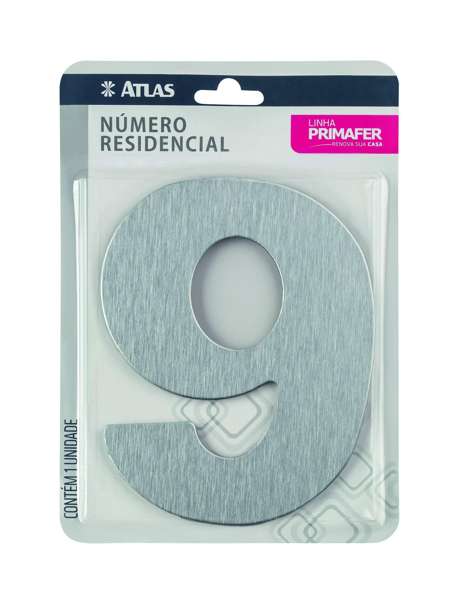 Número Residencial Adesivo Alumínio N° 9 Atlas PR3001/9.