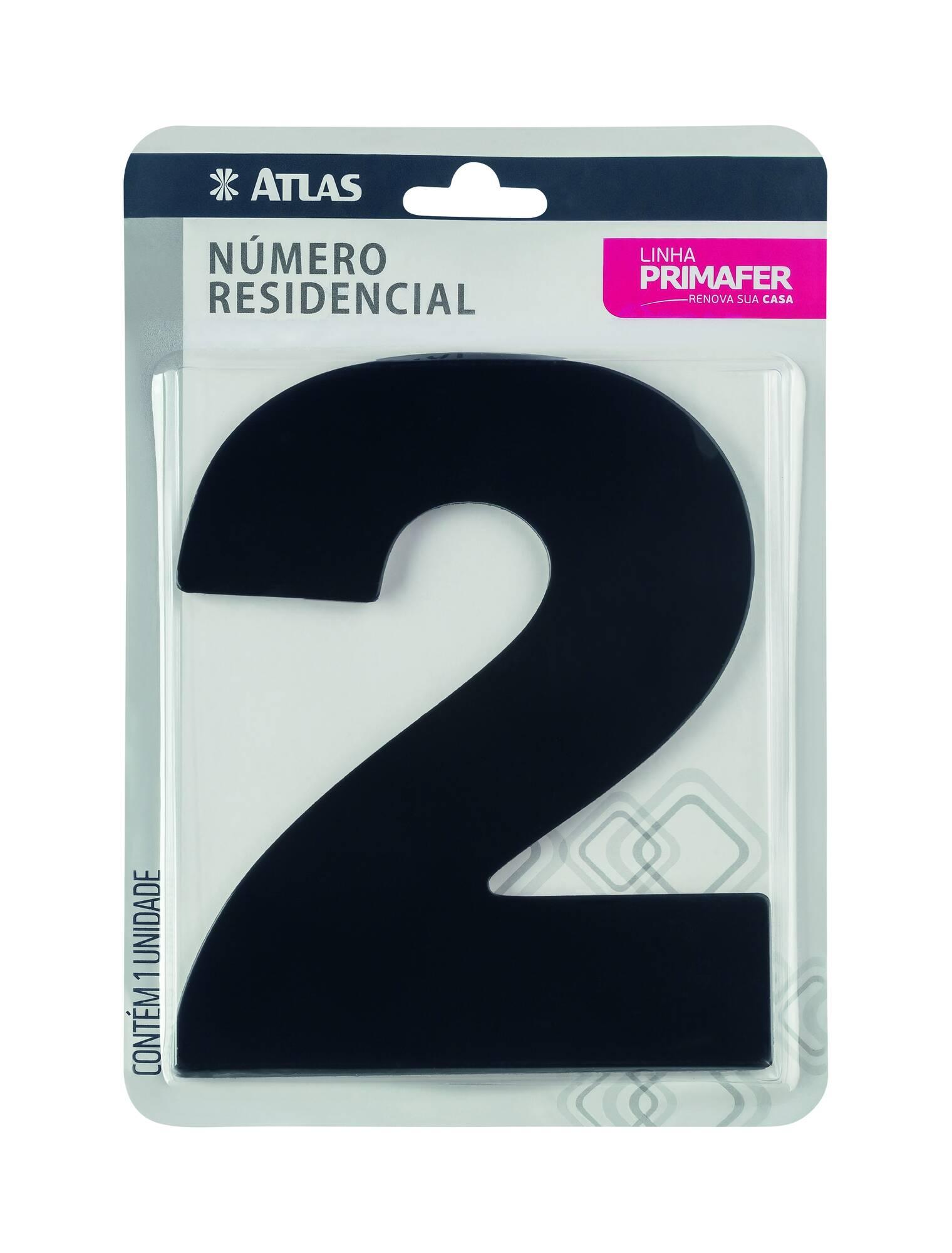 Número Residencial Adesivo Preto N° 2 Atlas PR3000/2.