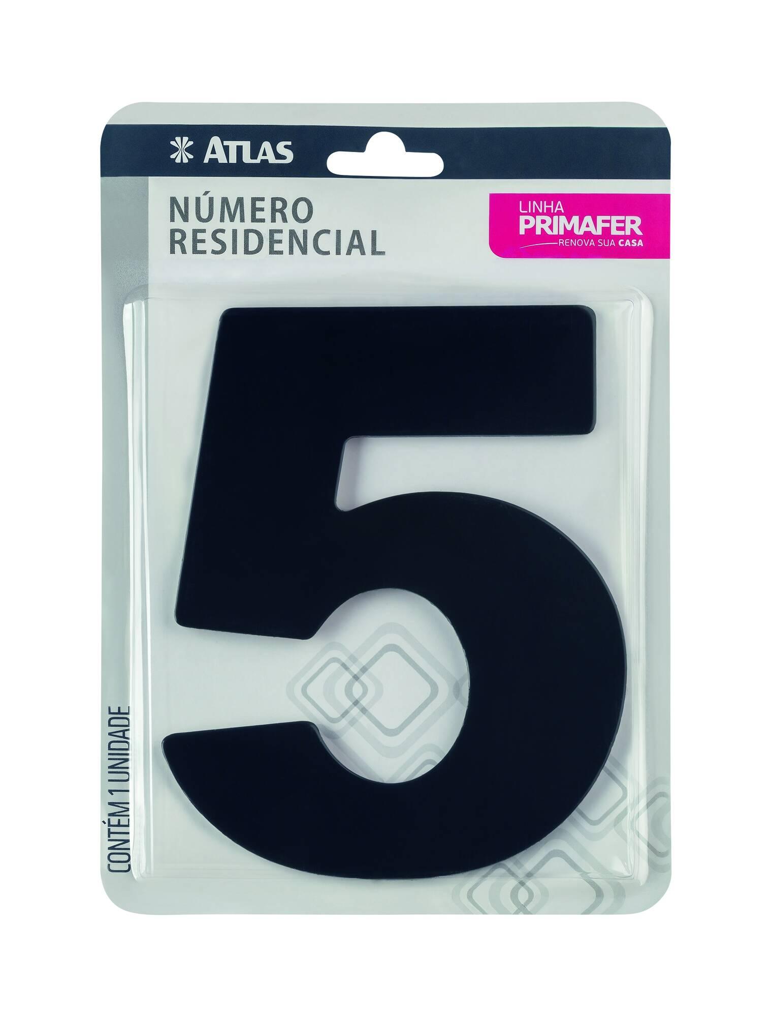 Número residencial Adesivo Preto N° 5 Atlas PR3000/5.