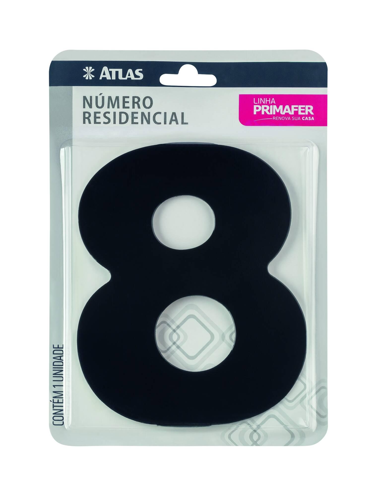 Número Residencial Adesivo Preto N° 8 Atlas PR3000/8.