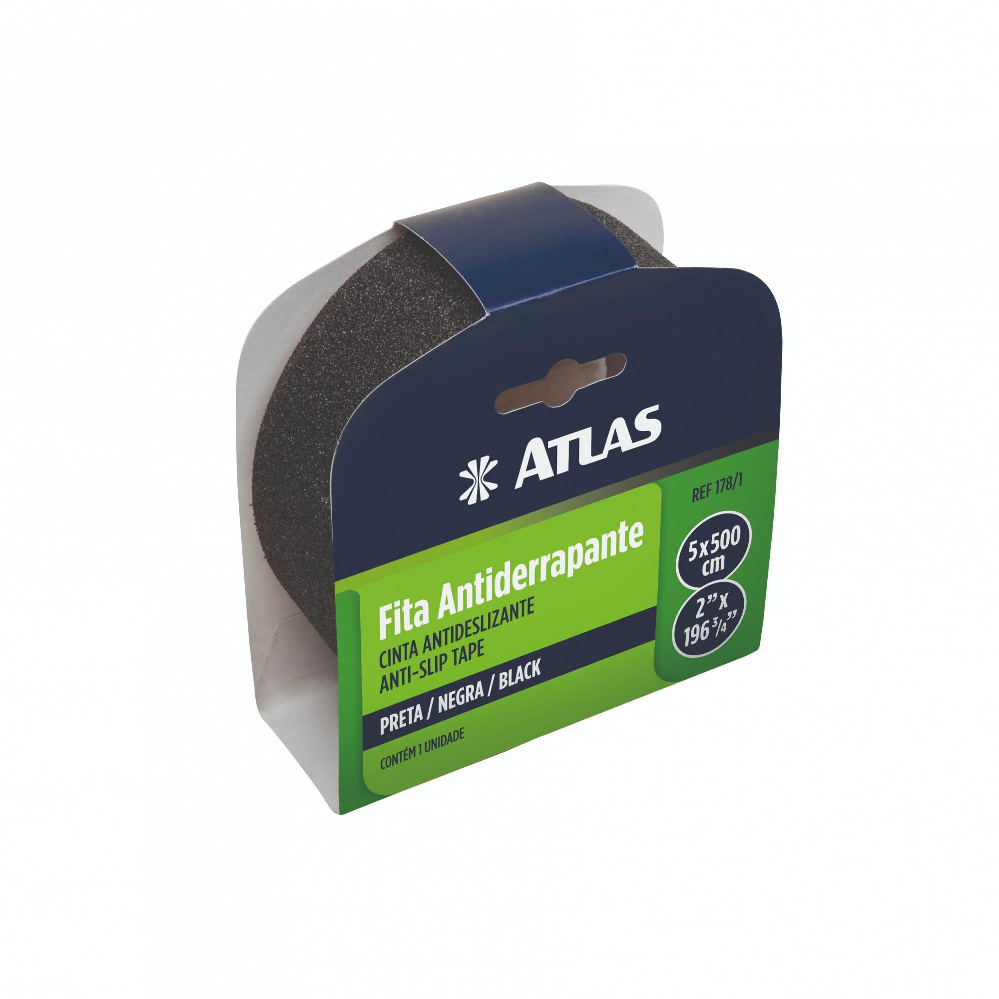 Fita Adesiva Antiderrapante Preta 5 Metros Atlas 178/1.