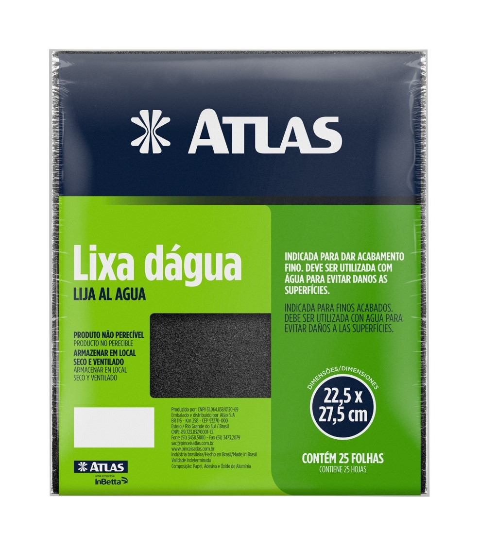 Lixa DAgua 100 C/ 25 Folhas Atlas 30/100.