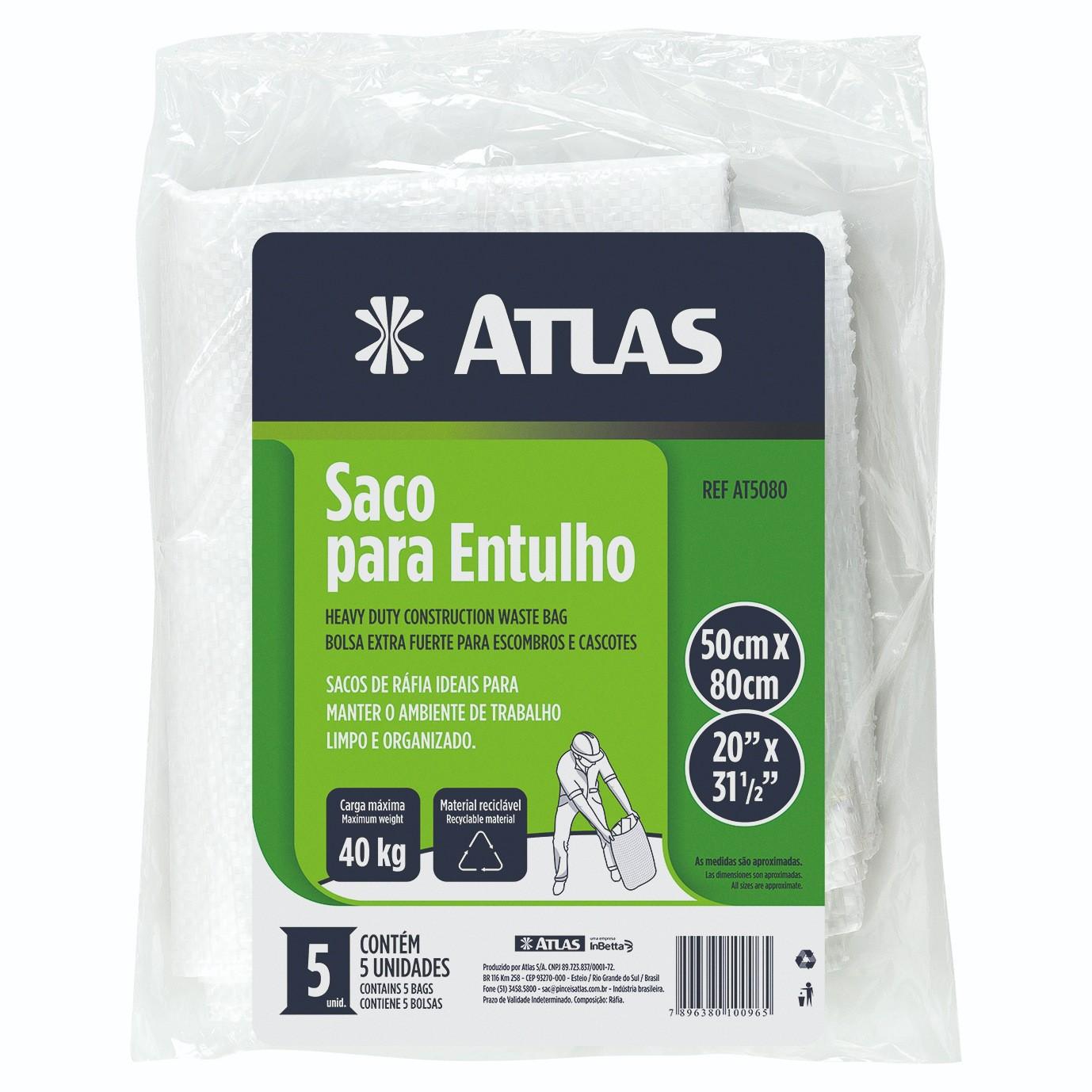 Saco P/ Entulho 40kg C/ 5 Unid Atlas AT5080.