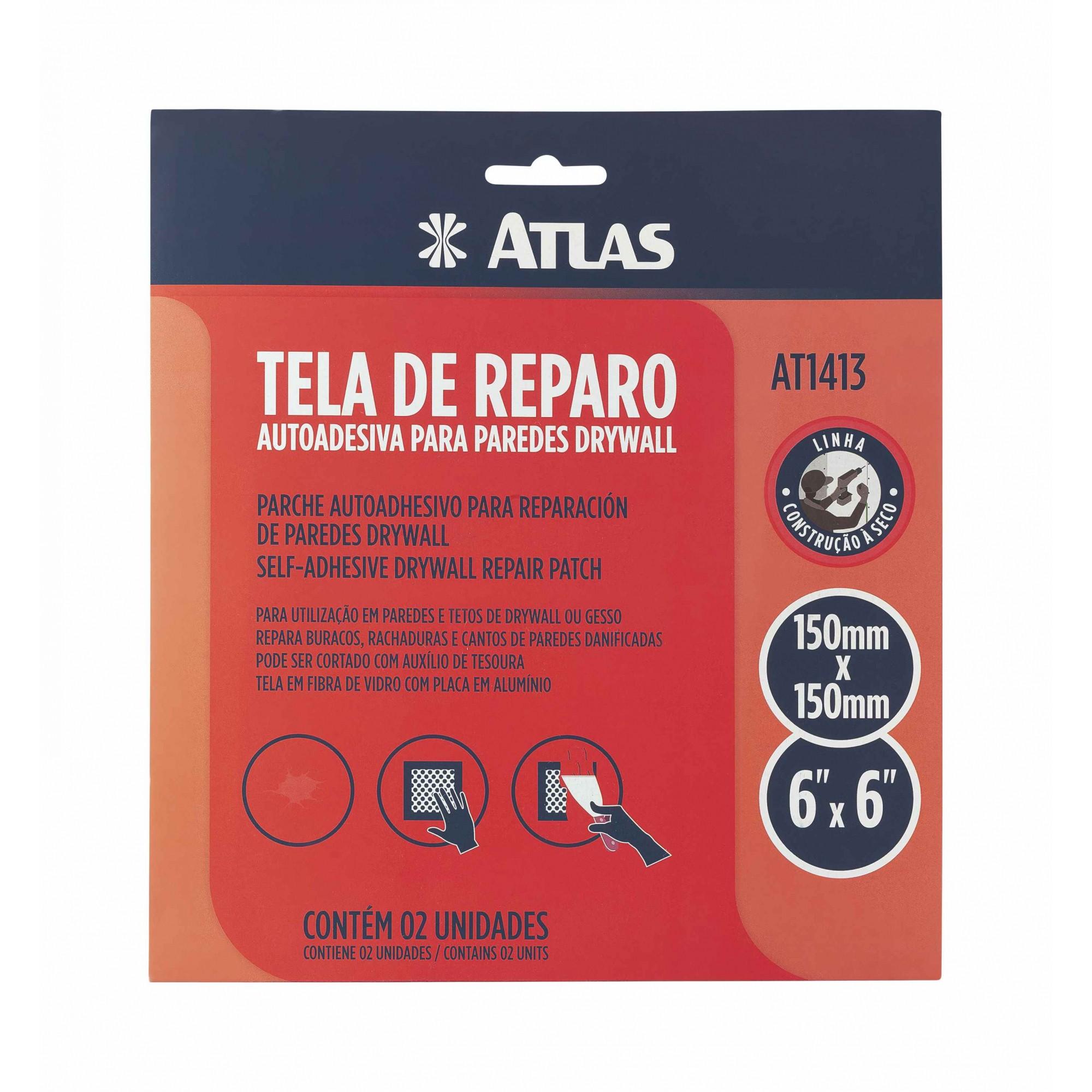Tela de Reparo Auto Adesiva para Drywall com 2 Unidades 15 X 15 Cm Atlas AT1413.