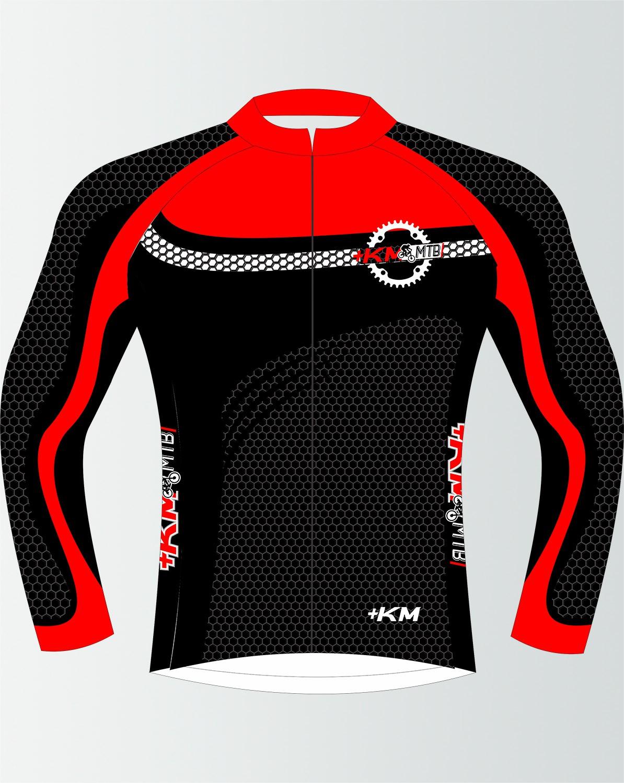 Camisa de Ciclismo Manga Longa Zíper Inteiro + KM