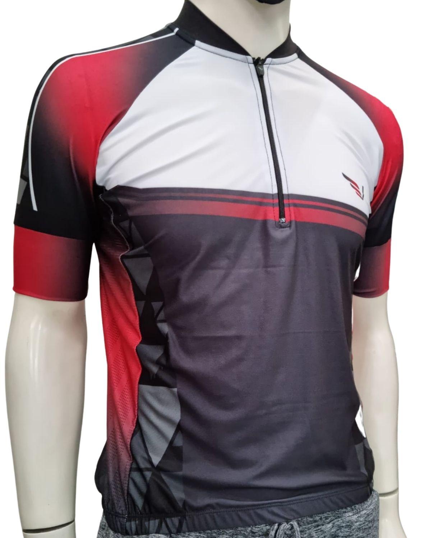 Camiseta Bike Meio Zíper Manga Curta Villa Sports REFLECT VERMELHO