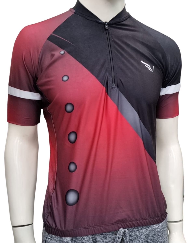 Camiseta Bike Meio Zíper Manga Curta Villa Sports SUIT VERMELHO