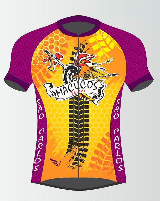 Camiseta de Ciclismo Manga Curta Zíper Inteiro Macucos