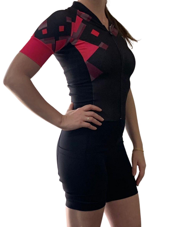 Macaquinho Cycling Villa Sports Estampado SQUAD ROUGE