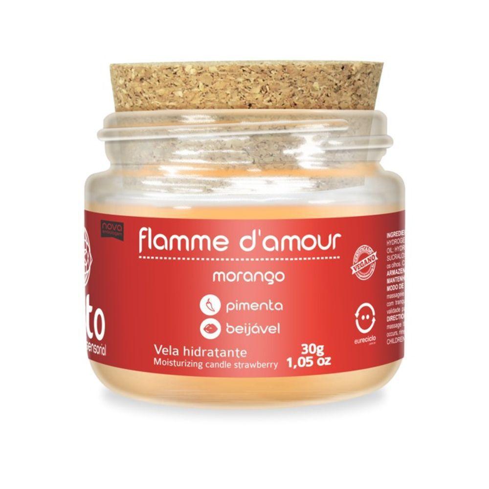 Vela Flamme D'amour Beijável - Morango