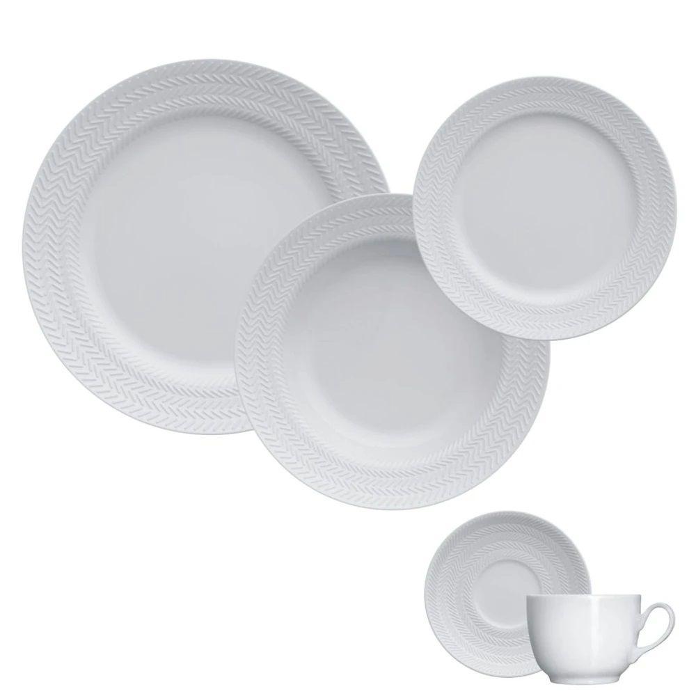 Jogo de Jantar e Chá 30 Peças Chevron Germer
