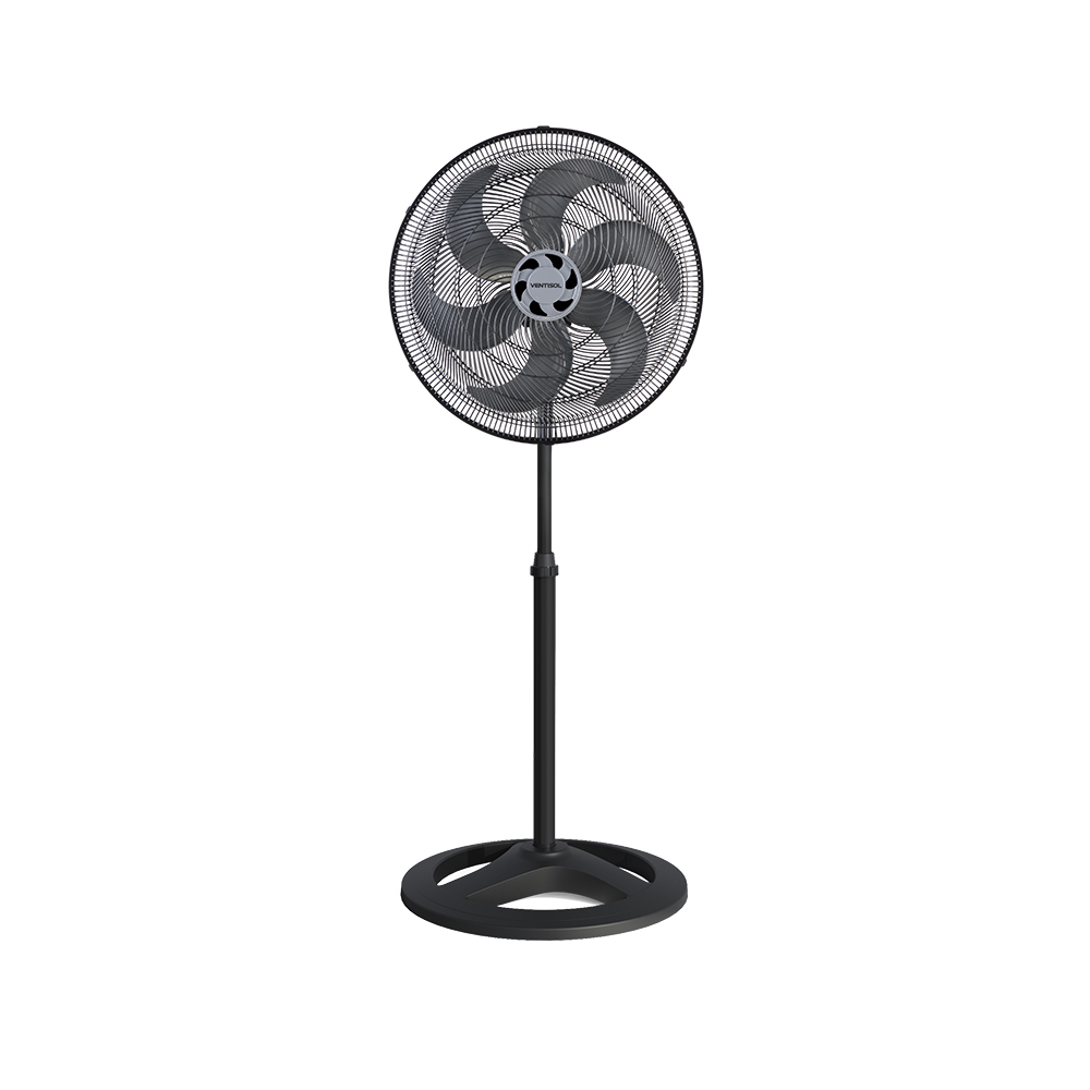 Ventilador de Coluna Preto 50cm Turbo 6 Pás Oscilante Ventisol 220V