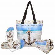 Kit Feminino Praia Âncora Azul com Bolsa, Necessaire e Chinelo, Magicc