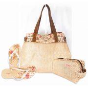Kit Feminino Tropical Floral com Bolsa, Necessaire e Chinelo, Magicc