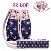 Kit Feminino Infantil Flamingos com Bolsa e Estojo, Magicc