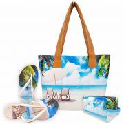 Kit Praia Feminino Cadeiras com Bolsa, Necessaire e Chinelo, Magicc