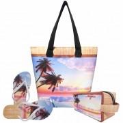 Kit Praia Feminino Summer Beach, Bolsa, Necessaire e Chinelo - Magicc