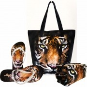 Kit Selva Feminino Tigre Marrom com Bolsa, Necessaire e Chinelo, Magicc