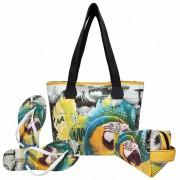 Kit Tropical Feminino Arara Brasil com Bolsa, Necessaire e Chinelo, Magicc