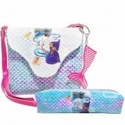 Kit Infantil Bolsa e Estojo Sereia Azul , Magicc Bolsas