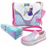 Kit Infantil Bolsa, Tênis e Estojo Sereia Azul, Magicc Kids