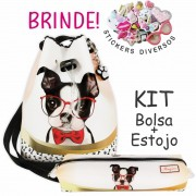 Kit Infantil Bolsa e Estojo Cachorrinho com Óculos, Magicc Bolsas