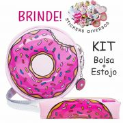 Kit Infantil Donuts  Rosa com Bolsa e Estojo, Magicc Bolsas
