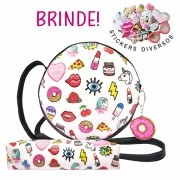 Kit Infantil Feminino Bolsa e Estojo Redonda Stickers, Magicc