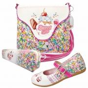 Kit Infantil Feminino Sapatilha, Bolsa E Estojo Docinhos, Magicc Kids