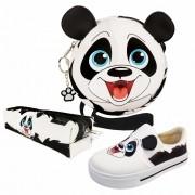 Kit Infantil Feminino Tênis Iate, Bolsa e Estojo Panda, Magicc Kids