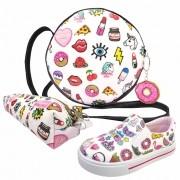 Kit Infantil Feminino Tênis Iate, Bolsa e Estojo Stickers, Magicc Kids
