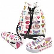 Kit Infantil Feminino Tênis Iate Casual, Bolsa e Estojo Stickers, Magicc Kids